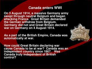 Canada enters WWI