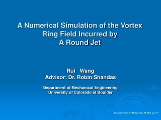 A Numerical Simulation of the Vortex Ring Field Incurred by A Round Jet