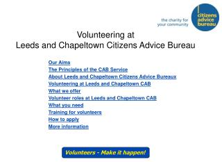 Volunteering at Leeds and Chapeltown Citizens Advice Bureau