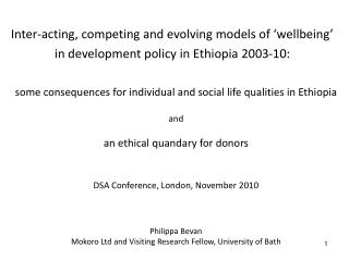 some consequences for individual and social life qualities in Ethiopia and