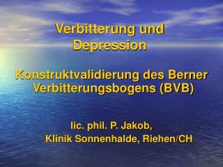 Verbitterung und  Depression