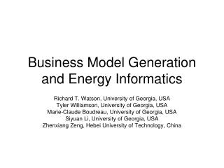 Business Model Generation and Energy Informatics
