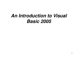 An Introduction to Visual Basic 2005
