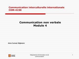 Communication interculturelle internationale COM-4150
