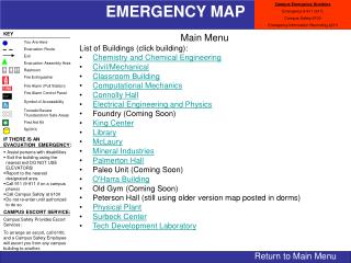 Main Menu List of Buildings (click building): Chemistry and Chemical Engineering Civil/Mechanical Classroom Building Com