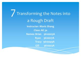7  Transforming the Notes into  a Rough Draft