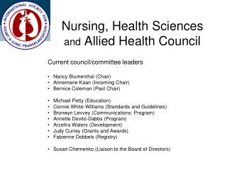 Nursing, Health Sciences  and  Allied Health Council