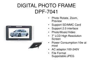 DIGITAL PHOTO FRAME DPF-7041