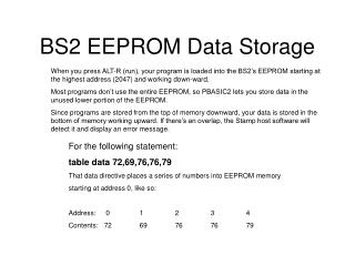 BS2 EEPROM Data Storage