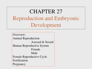 CHAPTER 27 Reproduction and Embryonic Development