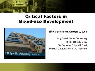 Critical Factors in  Mixed-use Development
