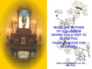 MARY, THE MOTHER OF GOD, IS NOW PAYING YOU A VISIT TO BLESS YOU. THANK GOD FOR THIS BLESSING!