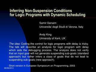 Inferring Non-Suspension Conditions for Logic Programs with Dynamic Scheduling