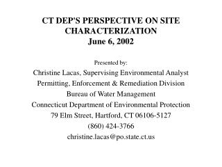 CT DEP'S PERSPECTIVE ON SITE CHARACTERIZATION June 6, 2002