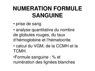 NUMERATION FORMULE SANGUINE