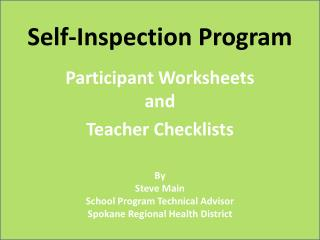 Self-Inspection Program