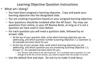 Learning Objective Question Instructions