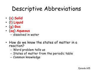 Descriptive Abbreviations