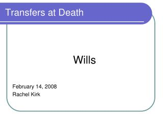 Transfers at Death