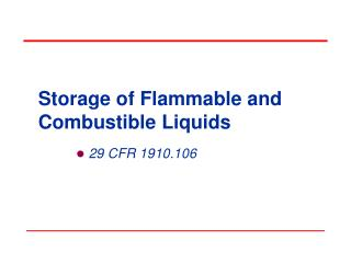 Storage of Flammable and Combustible Liquids