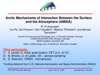 Arctic Mechanisms of Interaction Between the Surface and the Atmosphere (AMISA)