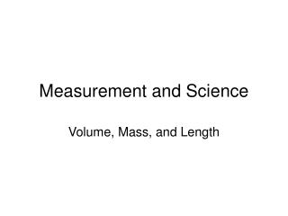 Measurement and Science
