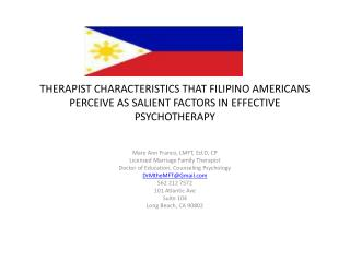 Mary  Ann  Franco, LMFT,  Ed.D , CP Licensed Marriage Family Therapist