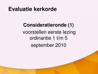 Evaluatie kerkorde