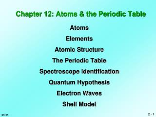 Chapter 12: Atoms & the Periodic Table
