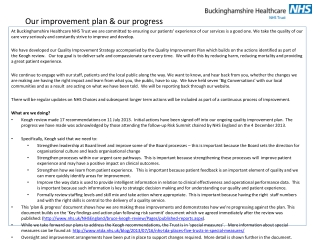 Our improvement plan & our progress