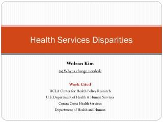 Health Services Disparities