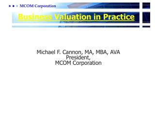Business Valuation in Practice