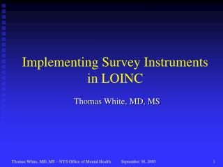 Implementing Survey Instruments in LOINC