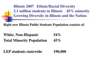 Right now Illinois Public Students Population consists of:  White, Non-Hispanic        	54\%