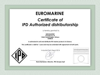 Certificate of IPD Authorized distributorship