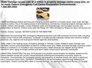Water Damage causes over $1.3 billion in property damage cla