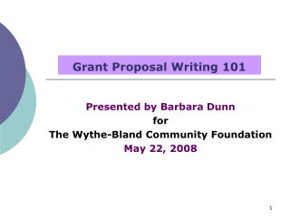 Grant Proposal Writing 101