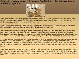 Serviced London Apartments & Unlawful Pop-Up Hotels offer Mo