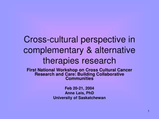 Cross-cultural perspective in complementary & alternative therapies research