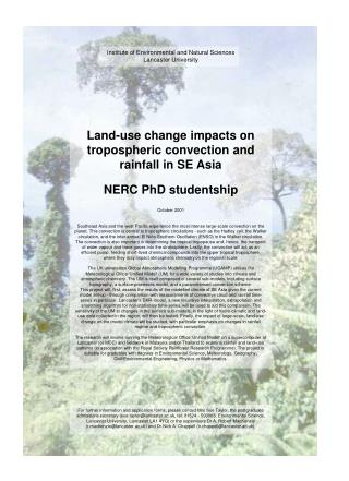 Institute of Environmental and Natural Sciences Lancaster University Land-use change impacts on