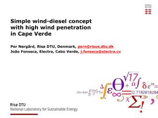 Simple wind-diesel concept with high wind penetration in Cape Verde