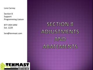 Section 8 Adjustments  and  Abatements