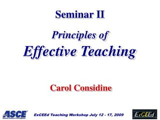 Seminar II Principles of  Effective Teaching