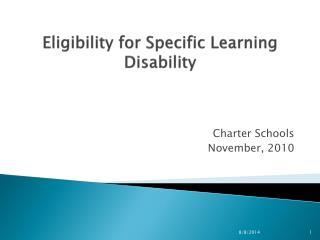 Eligibility for Specific Learning Disability