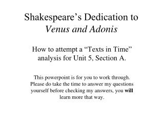 Shakespeare's Dedication to  Venus and Adonis