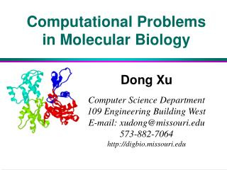 Computational Problems in Molecular Biology