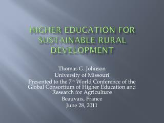 Higher Education for Sustainable Rural Development