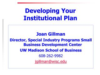 Developing Your Institutional Plan