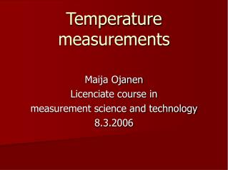 Temperature measurements
