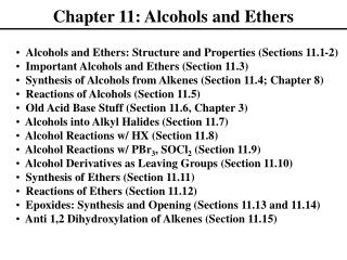 Chapter 11: Alcohols and Ethers